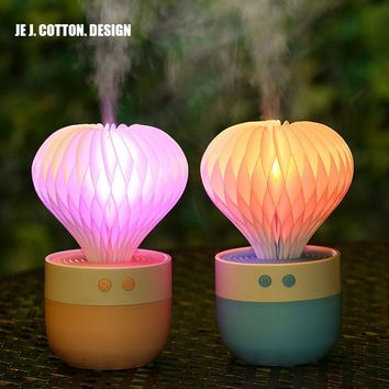 Cactus Air Humidifier Ultrasonic Humidificador with Night Light Aromatherapy Diffuser Essential Oil Diffusers for Home Car 150ML