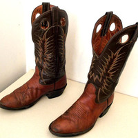Two tone brown leather Nocona Cowboy boots size 8 D or cowgirl size 9.5