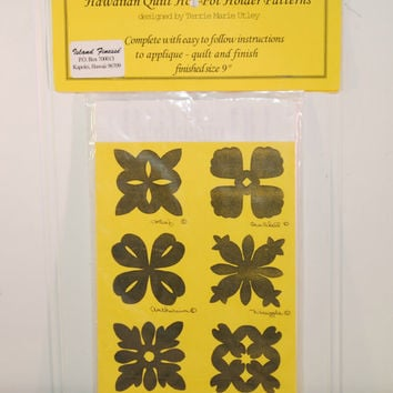 Hawaiian Quilt Hot Pot Holder Patterns Designed by Terrie Marie Utley, Applique, Quilting, Pot Holders, Hawaii Flowers, New In Package, Gift