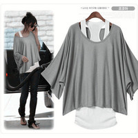 Women's 2 PCS Casual Batwing Loose Tops Shirts Blouse+Tank Top Camisole Vest S-M