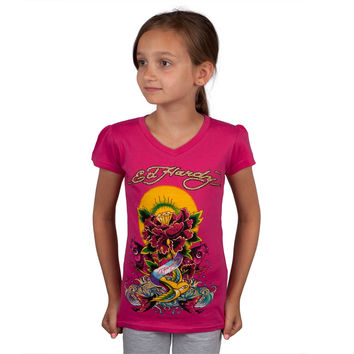 Ed Hardy - Diamond Rose Koi Fish Collage Girls Juvy T-Shirt