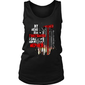 Women's Thin Red Line American Flag Firefighter Nephew Tank Top