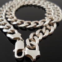 Curb Link Necklace, Silver Necklace, 17 Inch Necklace, Sterling Necklace, Italy 925 Necklace, 925 Chain, Heavy Silver Chain, Heavy 925 Chain