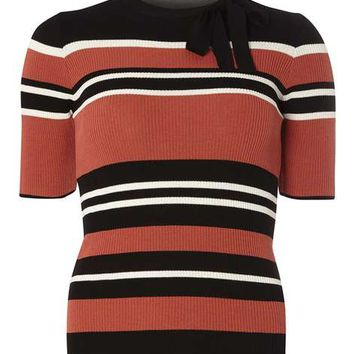 Multi Stripe Tie Neck Jumper - Retro Glam - Clothing