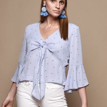 Orla Tie Front Ruffle Sleeve Top - Blue