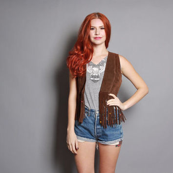 60s FRINGE Leather VEST / Dark Brown Suede with Wooden Beads