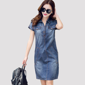 2016 Summer Style Women Denim Dress Slim Plus Size Casual Club Bodycon Jeans Women Dress