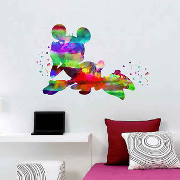 kcik1996 Full Color Wall decal Watercolor Character Disney Minnie Mouse Character Disney children's room Sticker Disney