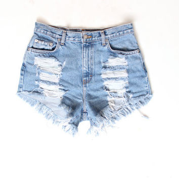 Destroyed Ripped Trashy Distress  Daisy Dukes Custom Made High Waist Shorts S M L