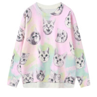 Pastel Pink Kitty Cats Face Print Sweater
