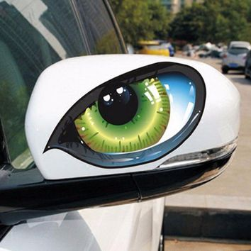 2Pcs D 601 3D Stereo Reflective Cat Eyes Car Sticker Car Auto Side Fender Eye Stickers Adhesive Creative Rearview Mirror Decal