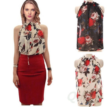 Sexy Women Chiffon Sleeveless High Ruffle Neck Floral Pleated Shirt Tops Blouse  [8833608652]