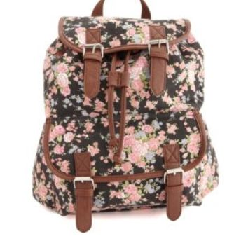 Belted Floral Print Canvas Backpack by Charlotte Russe - Black Combo