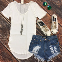 Sweet and Simple Ribbed Top: White