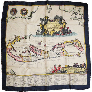 Rare Vintage Liberty Square Silk Scarf Bermuda Map