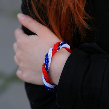 Patriotic Bracelet, 4th of July jewelry, American flag crochet bracelet, USA flag bracelet, red white blue, american flag, party fourth july