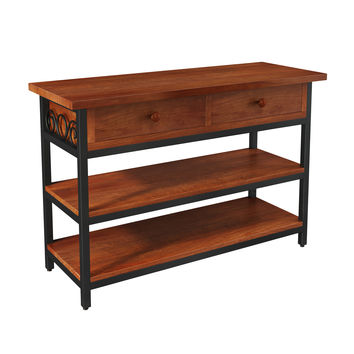 Whitby Chestnut Wood and Metal Scroll TV Stand