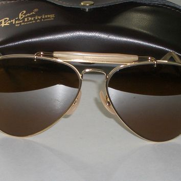 58 14 B&L RAY BAN B15 GRADIENT BROWN MIRRORED OUTDOORSMAN AVIATOR SUNGLASSES