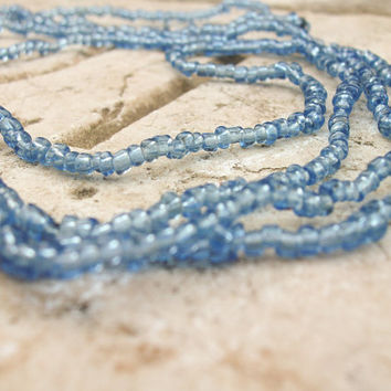 Blue Gray Murano glass beads from Venice, Italy