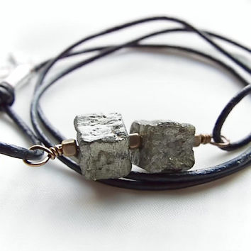 Leather Wrap Necklace, wrap bracelet, pyrite necklace, pyrite bracelet, free shipping  minimalist necklace