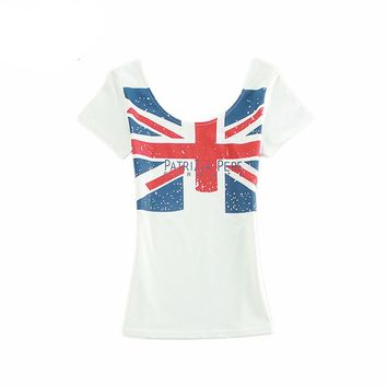 Women 2016 Latest T shirt Summer Tops Print Solid Short Sleeve Tees Shirt Hot Sale British Style Slim U-Neck T-Shirt