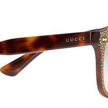 ONETOW GUCCI RHINESTONE Crystal 3871 Square Havana Gold Frame RX Glasses GG3871S