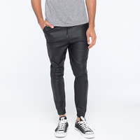 Elwood Faux Leather Mens Jogger Pants Black  In Sizes