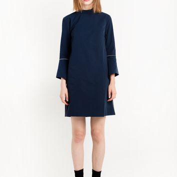 Navy Bell Sleeve High Collar Dress