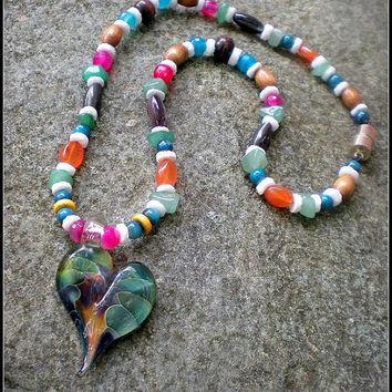 """One Love NEW OOAK 18"""" Original Handcrafted Necklace w/Boomwire Hand Blown Glass Heart Pendant"""