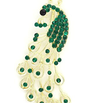 Green Crystal Peacock Pendant Necklace Gold Tone NS20 Art Deco Exotic Bird of Paradise Fashion Jewelry