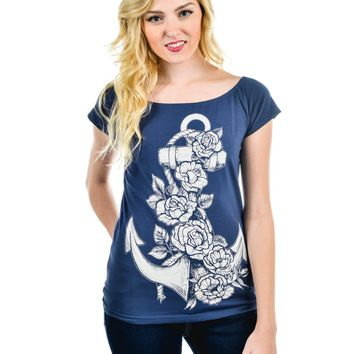 Rockabilly Pinup Anchor and Rose Blue Cup Out Heart Boat Neck Top