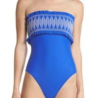 Ted Baker London Smocked Bandeau One-Piece Swimsuit | Nordstrom