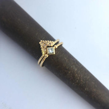 Engagement ring, Diamond ring, Engagement set, Unique gold jewelry, Diamond ring set, Stacked diamond ring, Alternative engagement ring