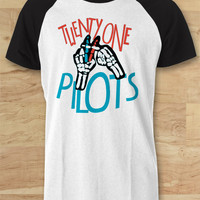 Twenty One Pilots Fingers Sign Shirt 21 Raglan Tee - SWD Raglan Tees  / Custom - Raglan / Baseball T-Shirt