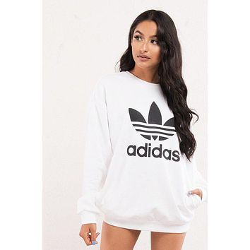 ''Adidas'' Originals Trefoil Trending Fashion White Pullover Sweatshirt White G