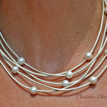 Pearl and Leather Jewelry - Necklace - 5 Strand Metalic Shell Pearl and Leather Necklace - Pearl and Leather Jewelry Collection