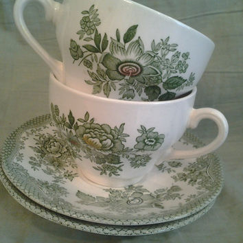 "2 Vintage Teacups and Saucers vintage china green and white Enoch Wedgwood Tunstall Ltd. England ""Kent"""