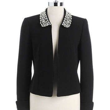 Tahari Arthur S. Levine Plus Open-Front Jacket With Embellished Collar