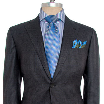 Kiton Grey and Blue Check Suit