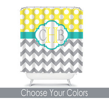 Chevron Shower Curtain Monogram Name CUSTOM Polka Dot Circles Choose Colors Yellow Gray Turquoise Bathroom Bath Polyester Made in USA