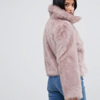ASOS PETITE Chubby Vintage Coat in Faux Fur at asos.com