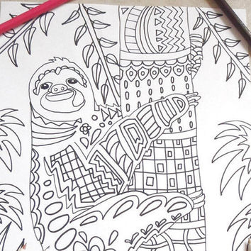 cute sloth coloring kids adults kawaii diy zen doodle animals pet colouring book sloth cute kids activities school teacher lasoffittadiste