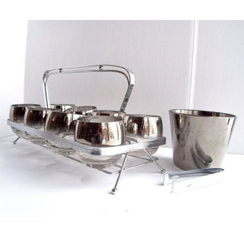 Vintage Silver Fade Roly Poly Glasses Caddy Icebucket Tongs