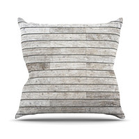 "Susan Sanders ""Wooden Walk"" White Gray Throw Pillow"