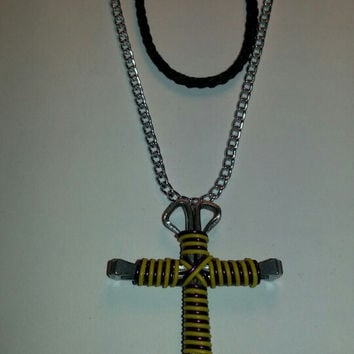Yellow and purple candy cane wire wrapped horseshoe nail cross necklace jewelry