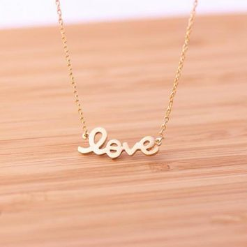 love necklace in gold  by bythecoco on Zibbet