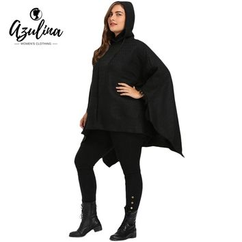 Black Trendy Winter Coat Overcoat Asymmetric Batwing Sleeve Plus Size Cape