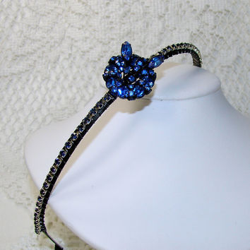 Royal Blue Jeweled Headband Black Prom Accessory Bohemian Hair Accessories Vintage Warner Rhinestone Jewelry Indigo Wedding Formal Bridal