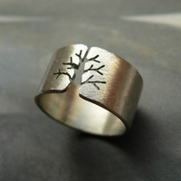 Tree Silver Ring Metalwork OOAK