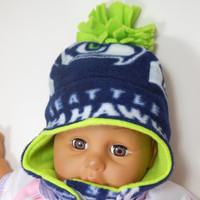 Baby Seahawks Reversible Earflap Hat, various sizes available to choose from